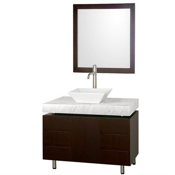 "Malibu 36"" Single Bathroom Vanity Set by Wyndham Collection, Espresso Finish with White Carrera Marble Counter... by Wyndham Collection®"