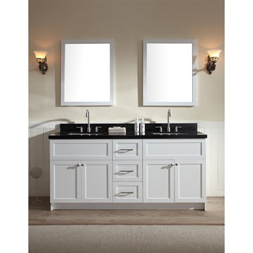 "Ariel Hamlet 73"" Double Sink Vanity Set with Absolute Black Granite Countertop in White F073D-AB-WHT by Ariel"