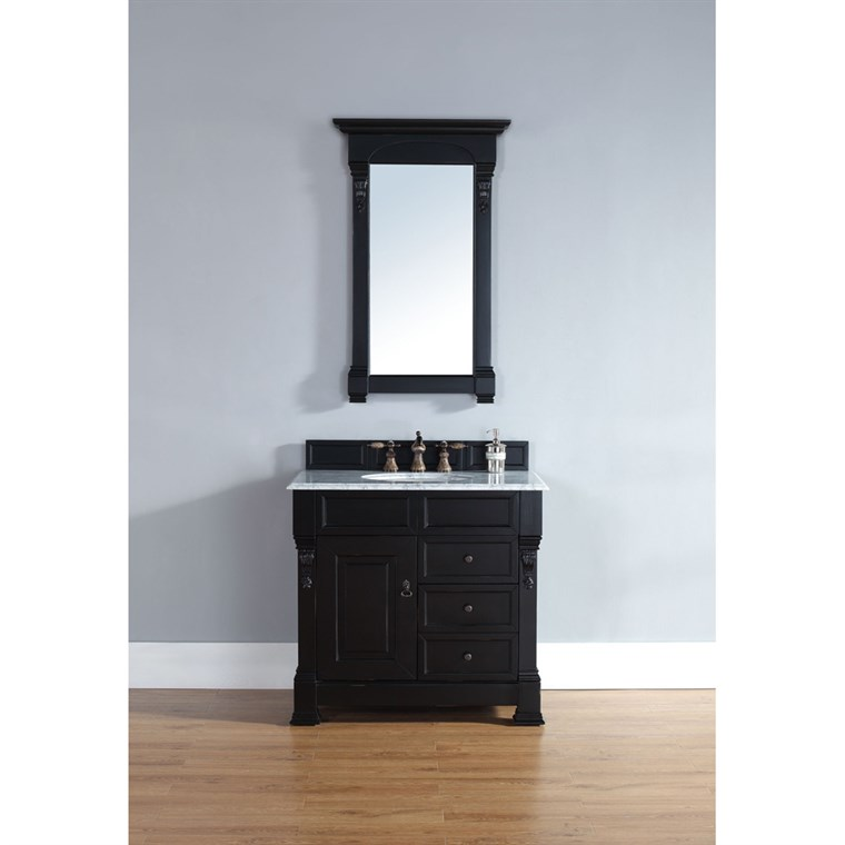 "James Martin 35"" Brookfield Single Vanity with drawers - Antique Black 147-114-5536"