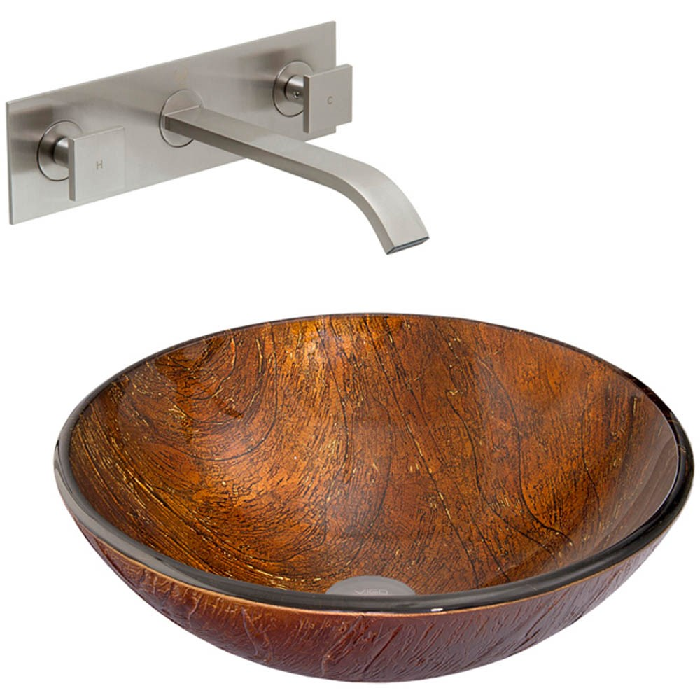 Vigo Kenyan Twilight Glass Vessel Sink And Titus Wall Mount Faucet Set In Brushed Nickel