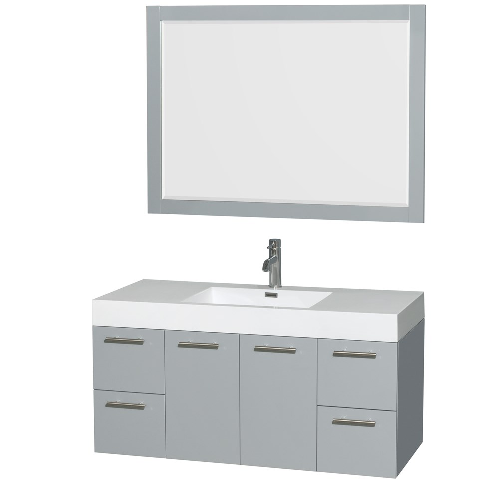 "Amare 48"" Single Bathroom Vanity in Dove Gray, Acrylic-Resin Countertop, Integrated Sink, and 46"" Mirror WCR410048SDGARINTM46"