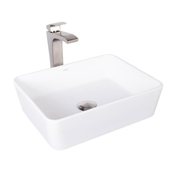 Vigo Sirena Matte Stone Vessel Sink and Blackstonian Bathroom Vessel Faucet in Brushed Nickel VGT1013 by Vigo Industries