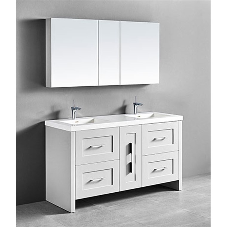 "Madeli Retro 60"" Double Bathroom Vanity for Integrated Basin - Matte White B700-60D-001-MW"