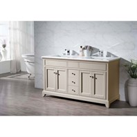 "Stufurhome Erin 59"" Double Sink Bathroom Vanity with White Quartz Top - Beige HD-6004-59-QZ"