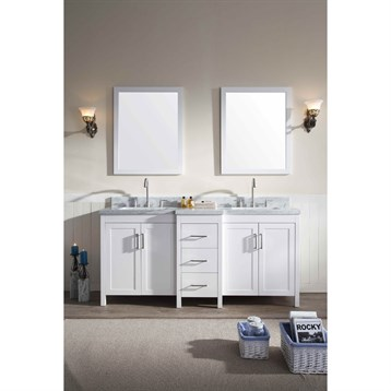 "Ariel Hollandale 73"" Double Sink Vanity Set with Carrera White Marble Countertop, White E073D-WHT by Ariel"