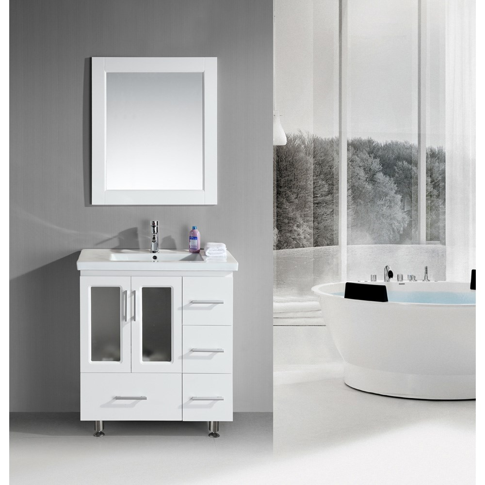 "Design Element Stanton 32"" Single Sink Vanity Set with Drop-in Sink - Whitenohtin"