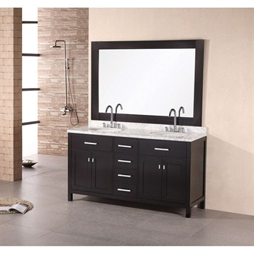 """Design Element London 61"""" Double Vanity with White Carrera Countertop, Sinks and Mirror, Espresso DEC076A by Design Element"""