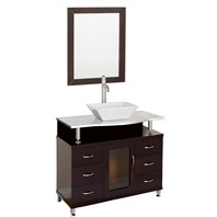 "Accara 36"" Bathroom Vanity with Drawers - Espresso w/ White Carrera Marble Counter B706D-36-ESP-WHTCAR"