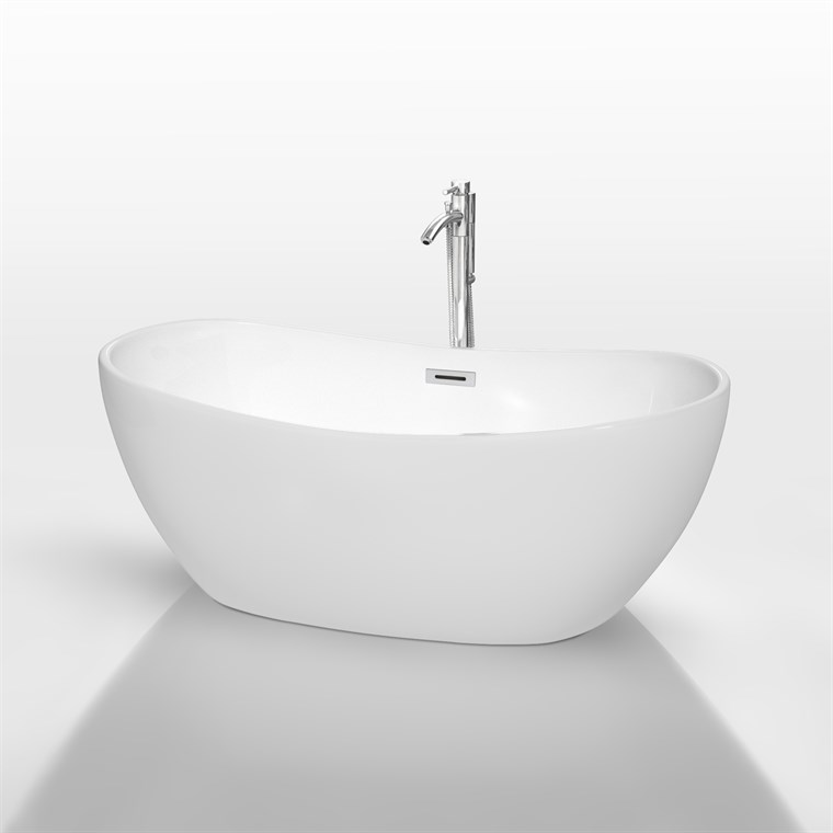 "Rebecca 60"" Soaking Bathtub by Wyndham Collection - White WC-BT1014-60"