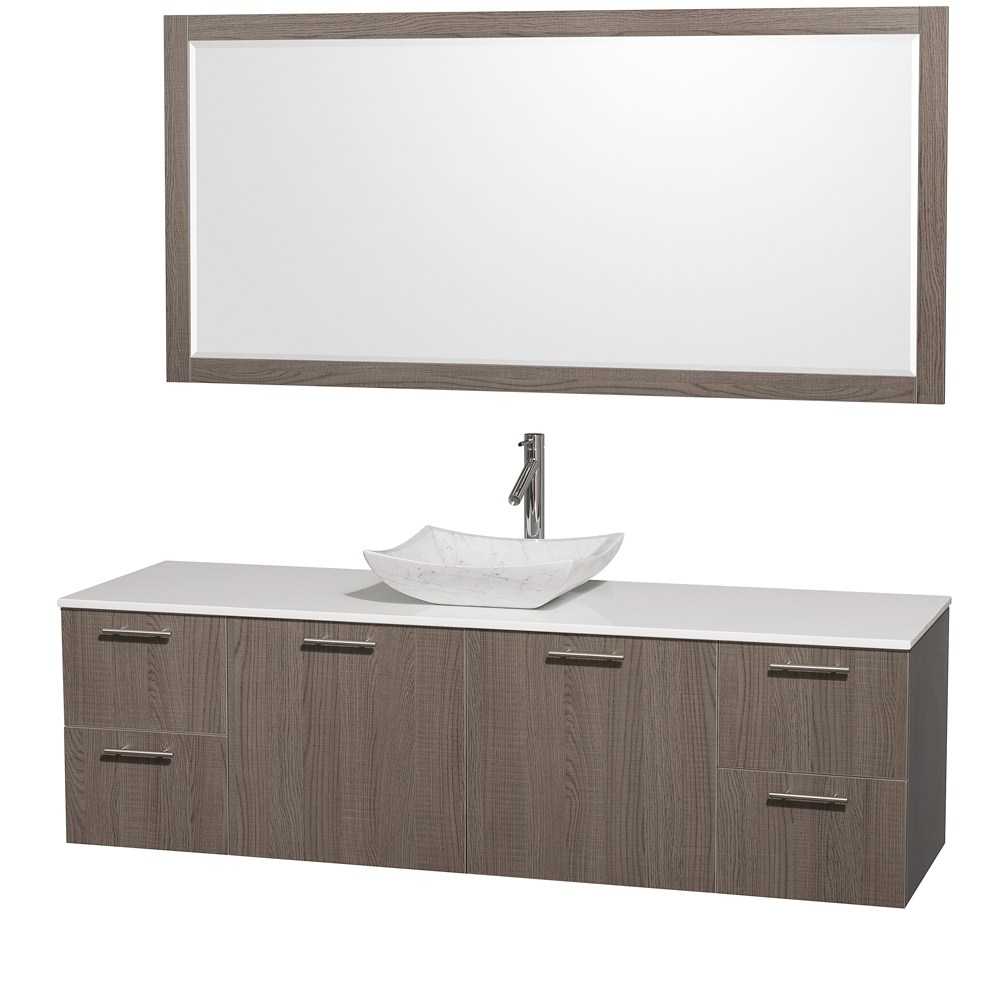 amare 72 wall mounted single bathroom vanity set with vessel sink rh modernbathroom com