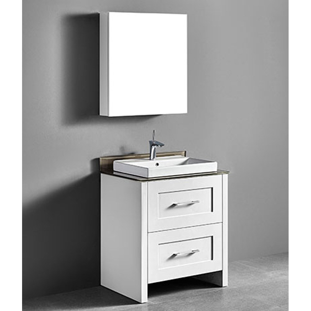 "Madeli Retro 30"" Bathroom Vanity for Glass Counter and Porcelain Basin - Matte White B700-30-001-MW-GLASS"