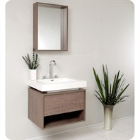 Fresca Potenza Gray Oak Modern Bathroom Vanity w/ Pop Open Drawer FVN8070GO