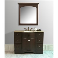 "Stufurhome 48"" Lotus Single Sink Vanity with Travertine Marble Top and Mirror - Dark Brown GM-6123-48-TR"
