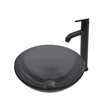 VIGO Sheer Black Glass Vessel Sink and Seville Faucet Set in Matte Black Finish VGT460