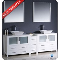 "Fresca Torino 84"" White Modern Double Sink Bathroom Vanity with Side Cabinet, Vessel Sinks, and Mirrors FVN62-361236WH-VSL"