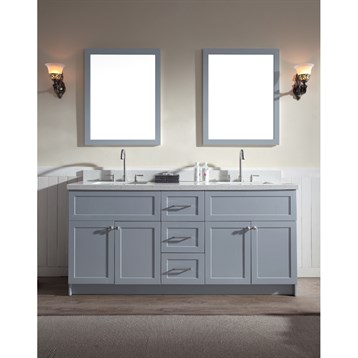 "Ariel Hamlet 73"" Double Sink Vanity Set with White Quartz Countertop in Grey F073D-WQ-GRY by Ariel"