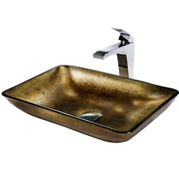 Vigo Rectangular Copper Glass Vessel Sink and Faucet Set in Chrome VGT156 by Vigo Industries
