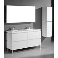 "Madeli Metro 60"" Double Bathroom Vanity for Integrated Basin - Glossy White B600-60D-001-GW"
