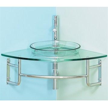 "Diamond 24"" Corner Bathroom Vanity with Glass Countertop"