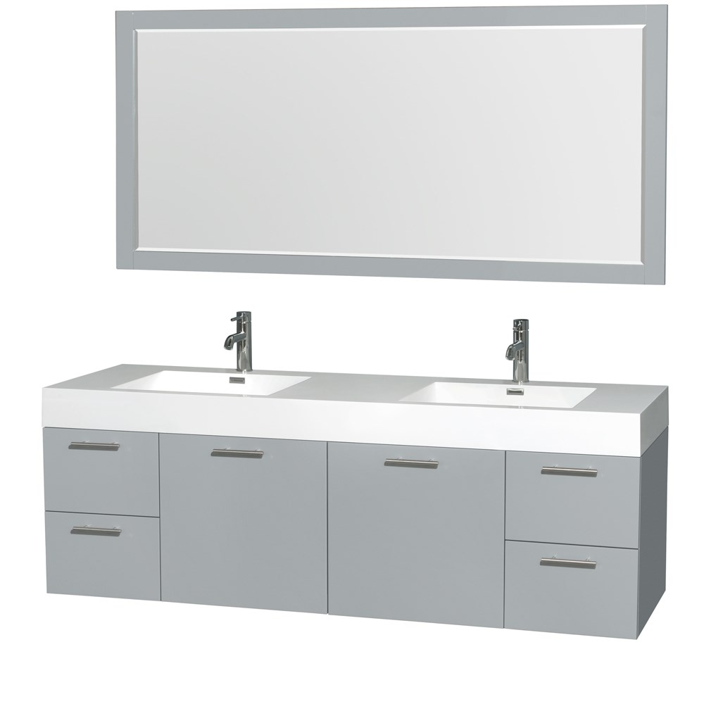 "Amare 72"" Double Bathroom Vanity in Dove Gray, Acrylic-Resin Countertop, Integrated Sinks, and 70"" Mirror WCR410072DDGARINTM70"