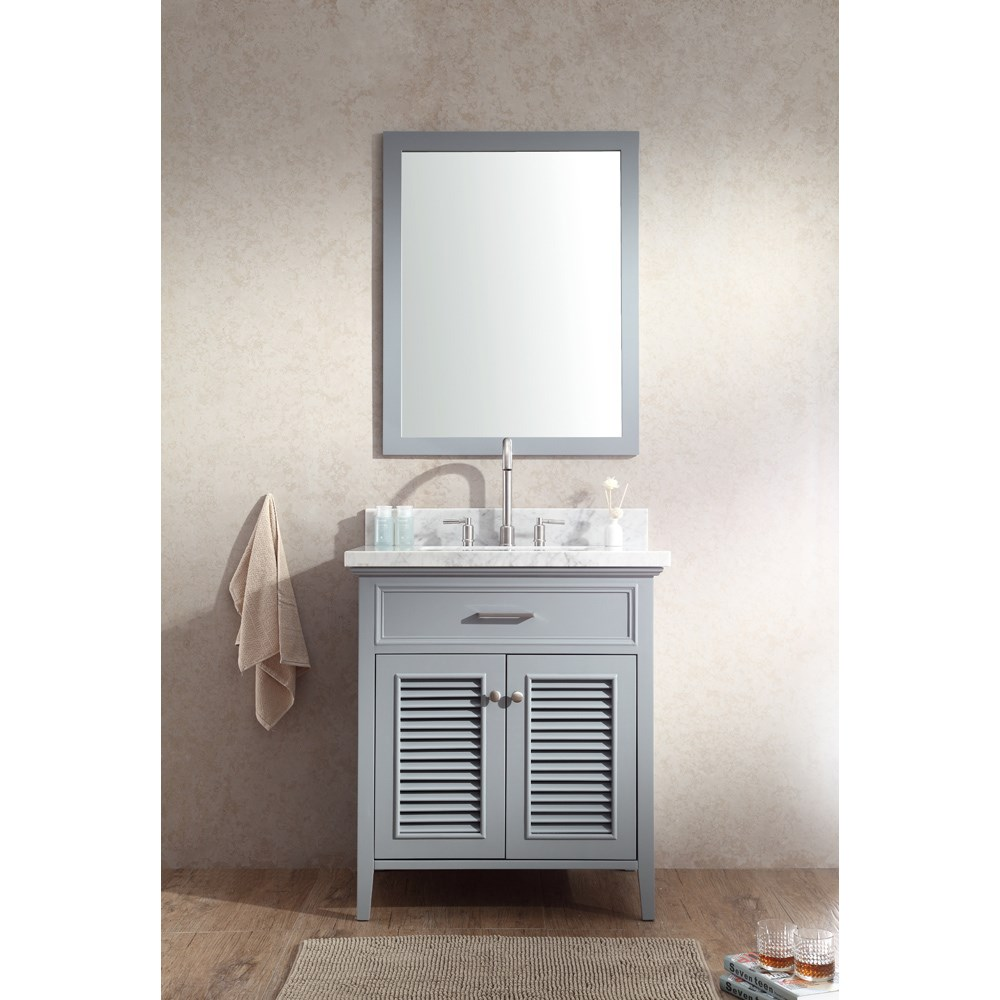 "Ariel Kensington 31"" Single Sink Vanity Set with Carrera White Marble Countertop - Greynohtin Sale $949.00 SKU: D031S-GRY :"