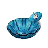 VIGO Mediterranean Seashell Glass Vessel Sink and Waterfall Faucet Set VGT026-ROUND