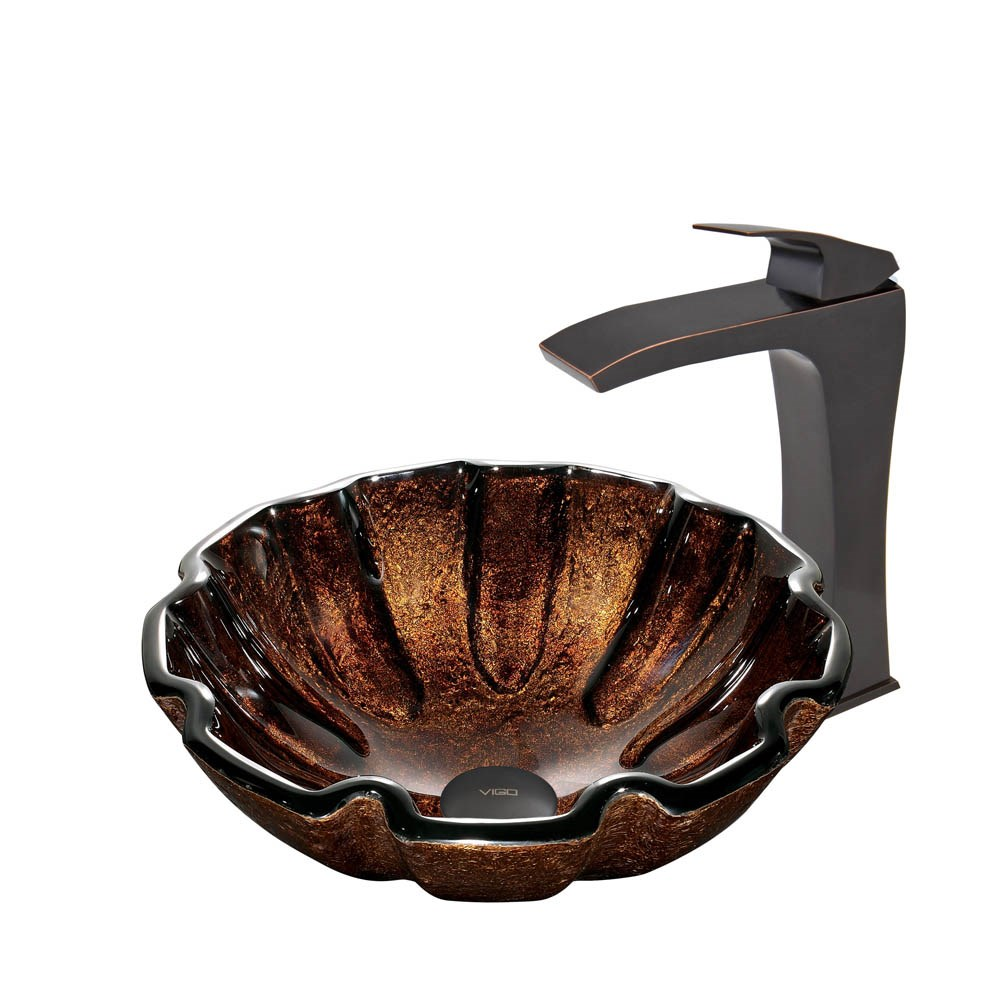 VIGO Walnut Shell Glass Vessel Sink and Blackstonian Faucet Set in Antique Rubbed Bronze Finishnohtin Sale $265.90 SKU: VGT422 :