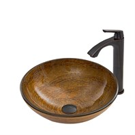 VIGO Cappuccino Swirl Glass Vessel Sink and Linus Faucet Set in Antique Rubbed Bronze Finish VGT673