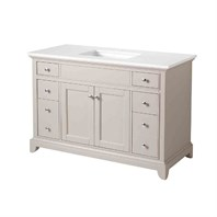 "Stufurhome Arianny 49"" Single Sink Bathroom Vanity with White Quartz Top - Grey TY-7340-49-QZ"