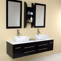 Fresca Bellezza Espresso Modern Double Vessel Sink Bathroom Vanity with Mirrors FVN6119ES