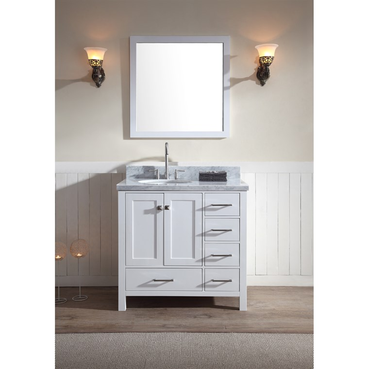 "Ariel Cambridge 37"" Single Sink Vanity Set with Left Offset Sink and Carrera White Marble Countertop - White A037S-L-WHT"