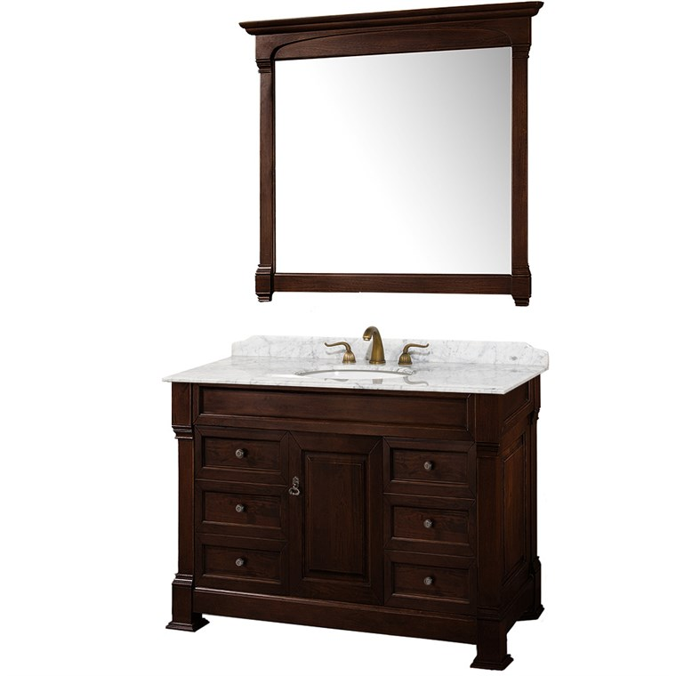 "Andover 48"" Traditional Bathroom Single Vanity Set by Wyndham Collection - Dark Cherry WC-TS48-VAN-DCH"