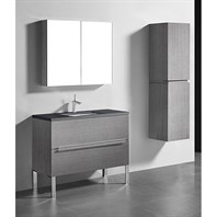 "Madeli Soho 42"" Bathroom Vanity for Quartzstone Top - Ash Grey B400-42-001-AG-QUARTZ"