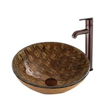 VIGO Playa Glass Vessel Sink and Seville Faucet Set in Oil Rubbed Bronze Finish VGT877