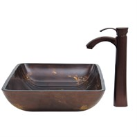 VIGO Rectangular Brown and Gold Fusion Glass Vessel Sink and Otis Faucet Set in Oil Rubbed Bronze VGT277