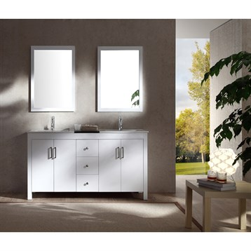 "Ariel Hanson 60"" Double Sink Vanity Set with Black Granite Countertop, White K060D-WHT by Ariel"
