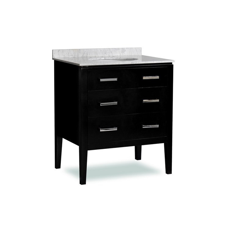 "Belmont decor Vantage 30"" Single Sink Vanity Set with Carrera White Marble Countertop - Espresso SM3D2-30-BLK"