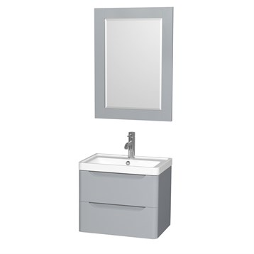Murano 24  Wall Mounted Bathroom Vanity Set with Integrated Sink by Wyndham  Collection   Gray   Free Shipping   Modern Bathroom. Murano 24  Wall Mounted Bathroom Vanity Set with Integrated Sink