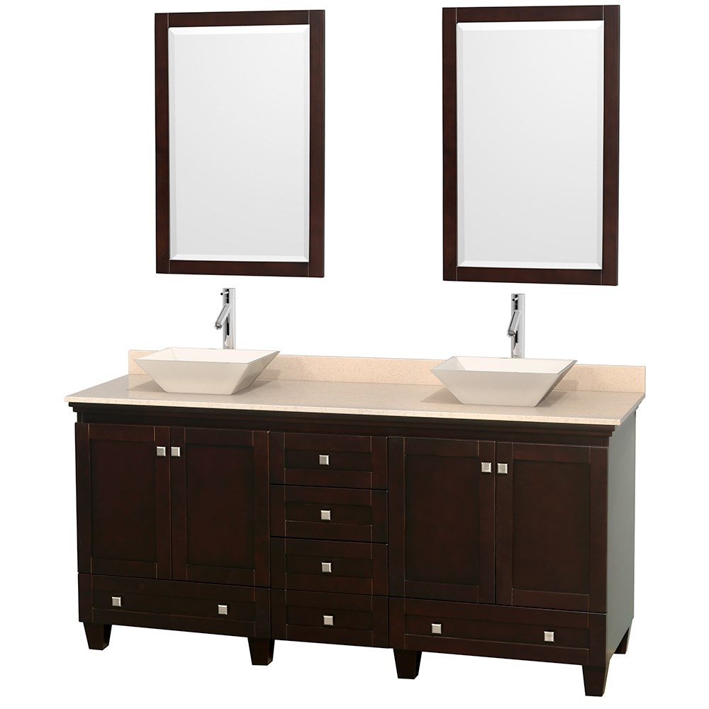 Acclaim 72 inch Double Bathroom Vanity for Vessel Sinks by Wyndham Collection Espresso