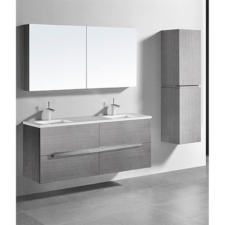 "Madeli Urban 60"" Double Bathroom Vanity for Integrated Basin - Ash Grey B300-60D-002-AG-QUARTZ"