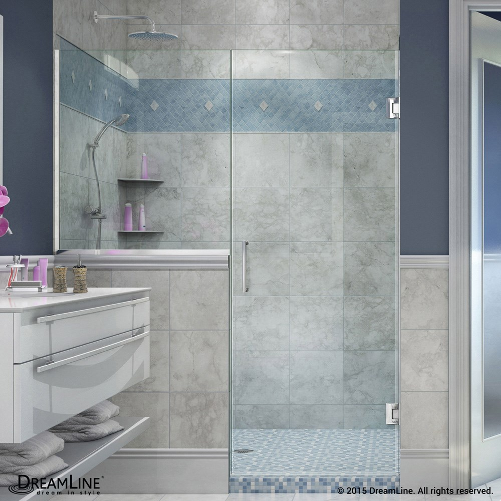 Dreamline Unidoor Plus 57 60 1 2 W Hinged Shower Door With 30 Wide Ress Panel Free Shipping Modern Bathroom