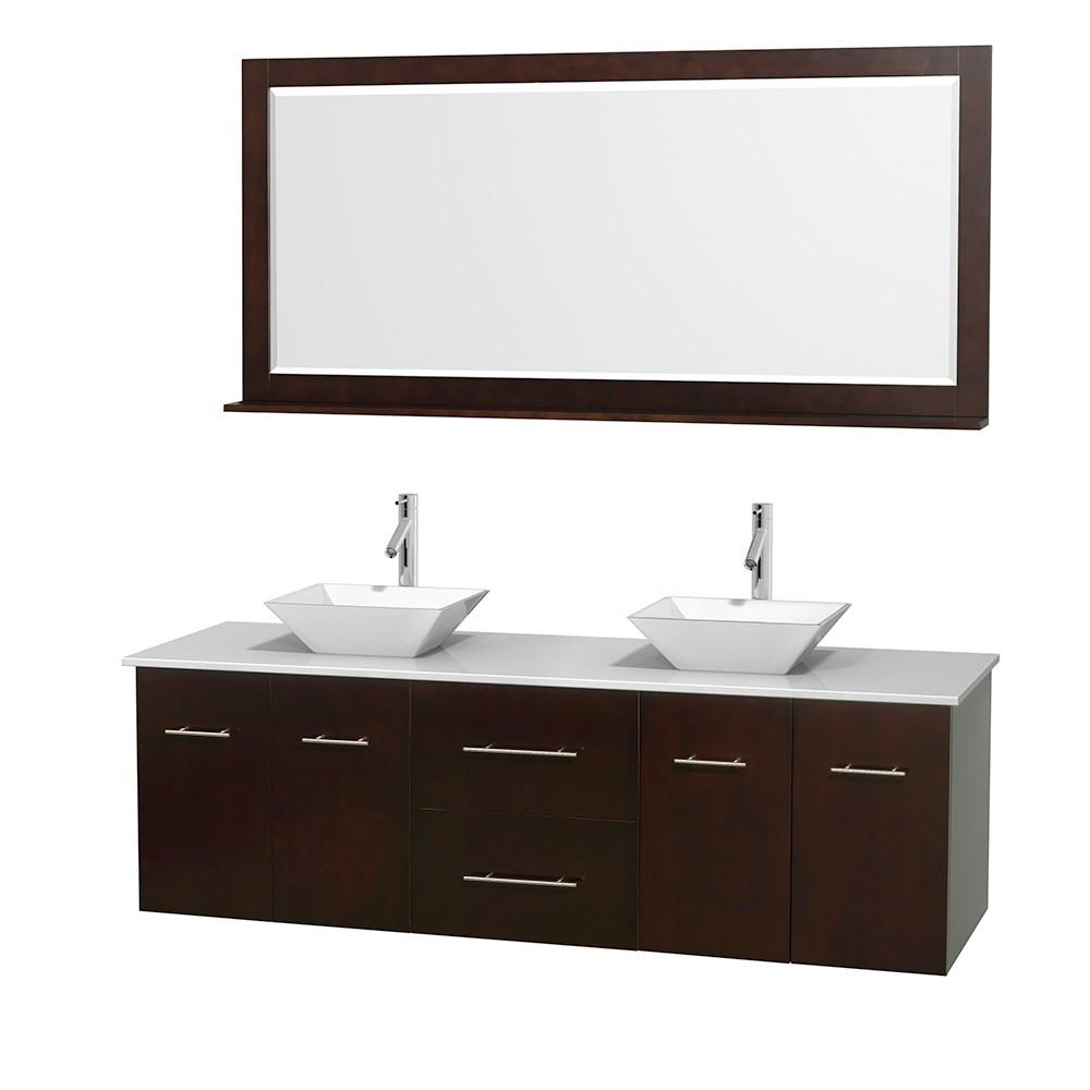 "Centra 72"" Double Bathroom Vanity for Vessel Sinks by Wyndham Collection - Espressonohtin Sale $1349.00 SKU: WC-WHE009-72-DBL-VAN-ESP_ :"