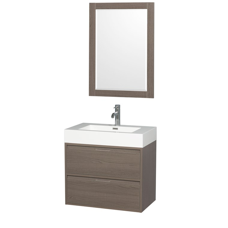 "Daniella 30"" Wall-Mounted Bathroom Vanity Set With Integrated Sink by Wyndham Collection - Gray Oak WC-R4600-30-VAN-GRO"