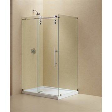 "Bath Authority DreamLine Enigma-Z Fully Frameless Sliding Shower Enclosure, 34-1/2"" by 48-3/8"" SHEN-6234480 by Bath Authority DreamLine"