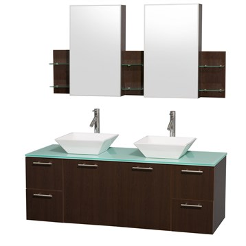 Amare 60quot Wall Mounted Double Bathroom Vanity Set With Vessel Sinks By Wyndham Collection