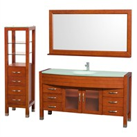 "Daytona 60"" Bathroom Vanity Set by Wyndham Collection - Cherry WC-A-W2109-60-CH-SET-"