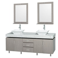 "Malibu 72"" Double Bathroom Vanity Set by Wyndham Collection - Gray Oak Finish with White Carrera Marble Counter and Handles WC-CG3000H-72-GROAK-WHTCAR-"