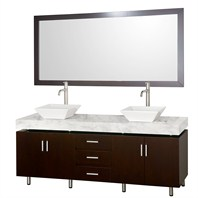 "Malibu 72"" Double Bathroom Vanity Set by Wyndham Collection - Espresso Finish with White Carrera Marble Counter and Handles WC-CG3000H-72-ESP-WHTCAR"
