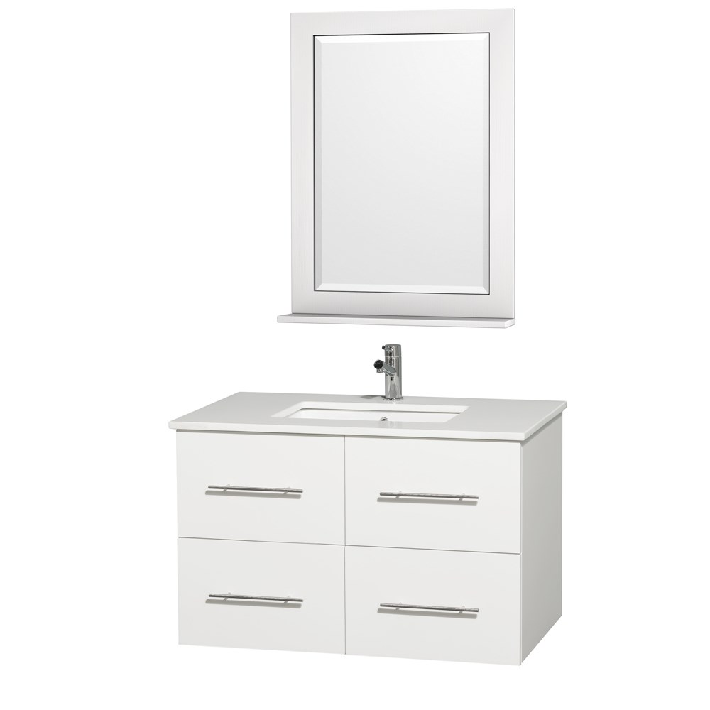 "Centra 36"" Single Bathroom Vanity for Undermount Sinks by Wyndham Collection - Matte White WC-WHE009-36-SGL-VAN-WHT-"