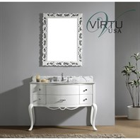 "Virtu USA 48"" Charlotte Bathroom Vanity with Italian Carrara White Marble - White GS-6148-WM-WH"